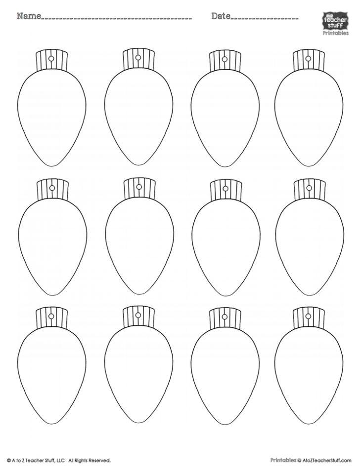 Christmas Lights PrintableColoring Page, Worksheet or