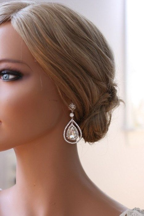 Bridal Crystal Earrings Art Deco Earrings Bridal by ORNENT on Etsy, $39.00