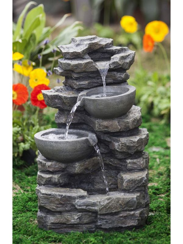 rock & pot waterfall water fountain