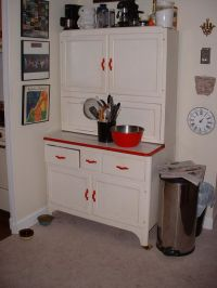 White Hoosier Cabinet with Bright Red Handles | Drawer ...