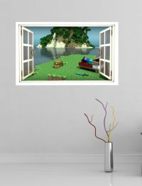 Minecraft full colour magic window image wall sticker ...