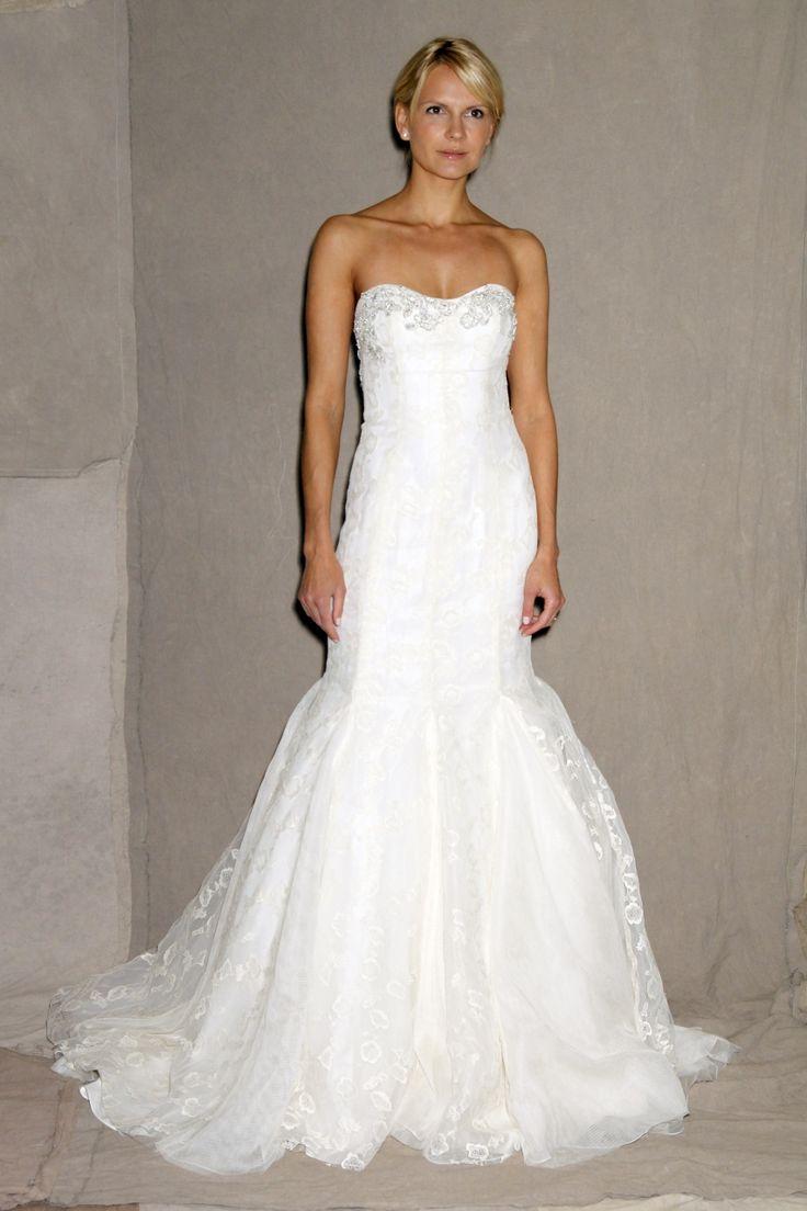 Lela Rose white lace no strap mermaid wedding dress