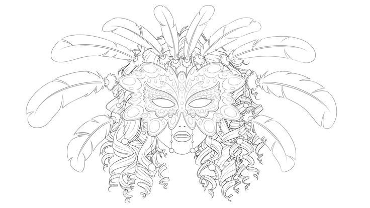 Masquerade lineart by Lily-Fu.deviantart.com on