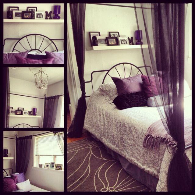 My bedroom. Purple black grey and white