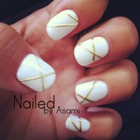 White and Gold Lines design with Gel Nails. | Nail Art ...
