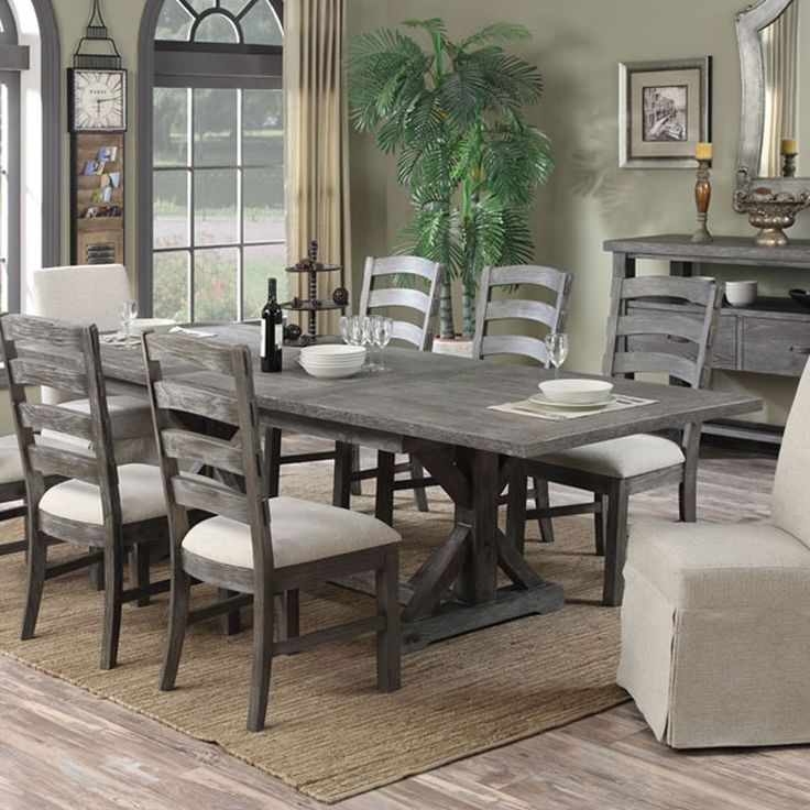 rectangle kitchen table and chairs mosaic backsplash paladin wood rectangular dining in charcoal by ...