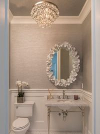Powder room ideas-I love the wainscoting, wall paper and ...