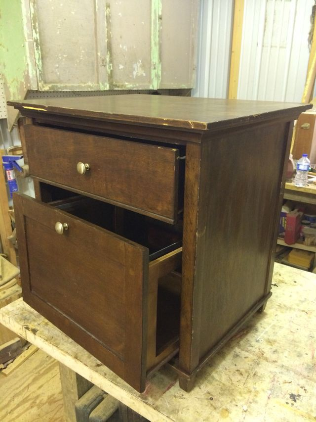 Filing cabinet turned into side table.