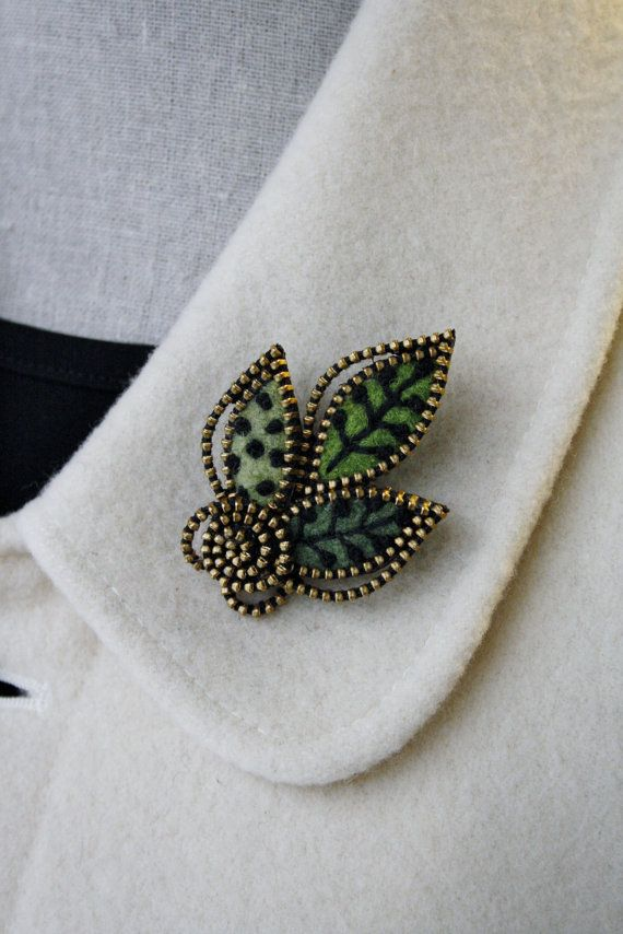 Felt And Zipper Multi Leaf Brooch By Woollyfabulous On