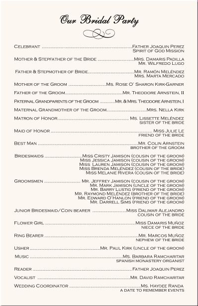 Christian Wedding Ceremony Program