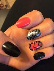 black orange nails with glitter
