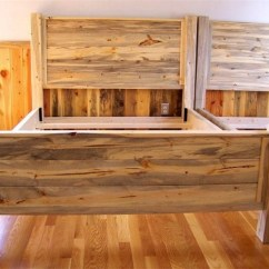 Diy Pallet Living Room Furniture Hanging Shelves For Beetle Kill Pine Bed Blue Stain Headboard | Dreaming Of ...
