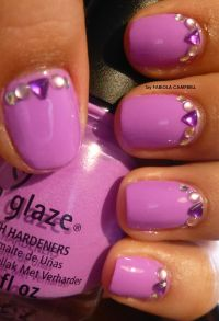 Hot Lilac Nails with gems nail design - By Fabiola ...