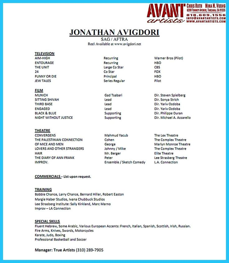 Acting Cv Template Audition Resume Template Acting Resume Sample