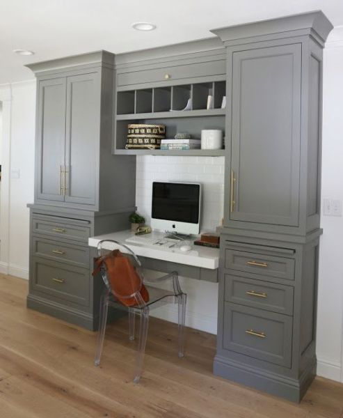 painted home office built ins Home office | Built in cabinets | painted grey cabinets