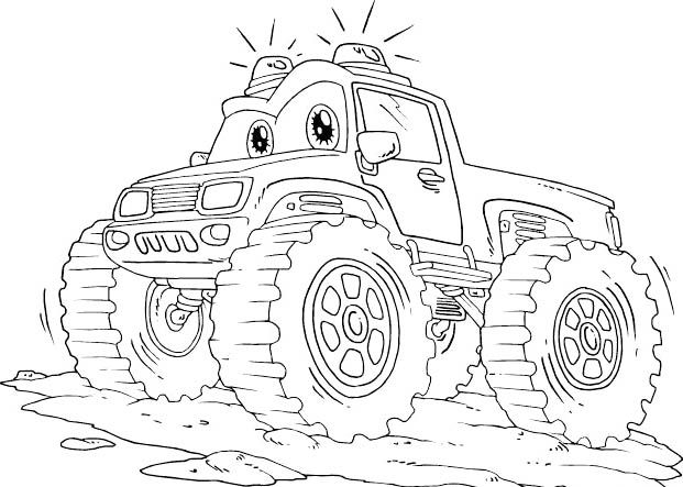Monster Truck Off Road With Flashing Lights Coloring Page