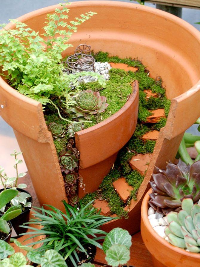 25 Best Ideas About Broken Pot Garden On Pinterest Fairy Garden