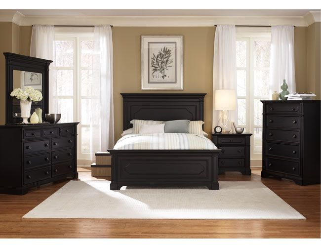 The Furniture Black Rubbed Finished Bedroom Set With Panel Bed Southern Cachet