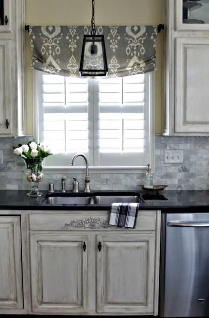 large kitchen window treatments tile patterns relaxed roman shade, stationary, outside mount   ...