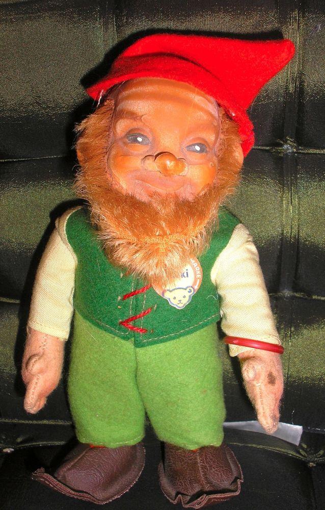 Vintage Steiff 7 Lucki Dwarf Gnome Elf German Doll 1960s Era Tag  Button  Tags Elves and Dolls