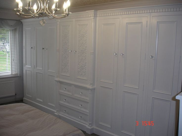 Solid Pine Antique White Painted Large 8 door Jali Style Handmade 13ft Wardrobe in Home