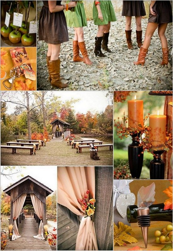 Fall Rustic Wedding Inspiration with green brown and