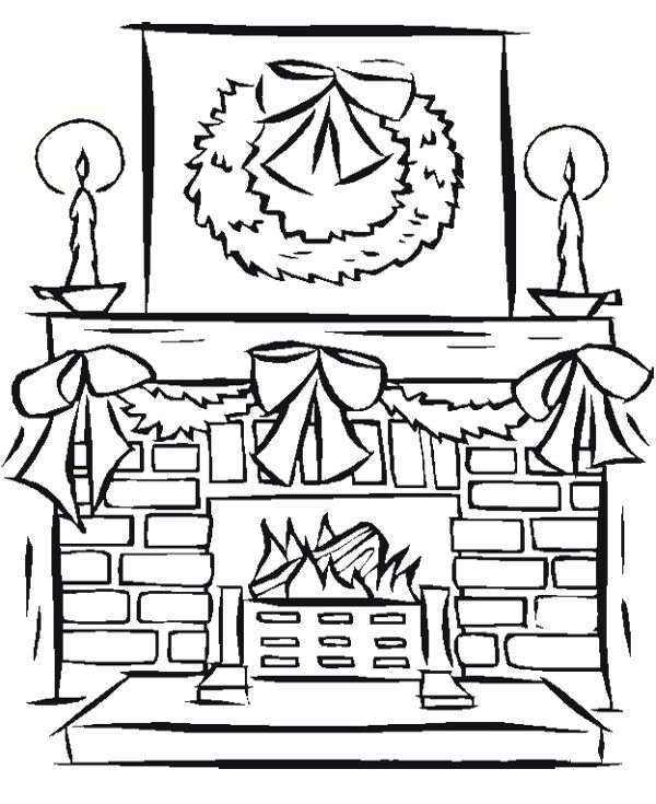 Fireplace Decoration Christmas With Candles Coloring Page