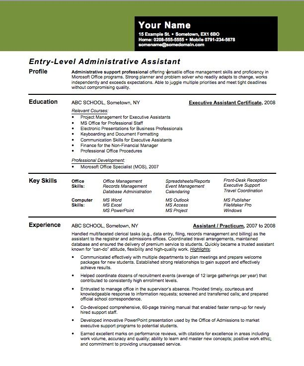 Entry Level Assistant Principal Resume Templates Entry