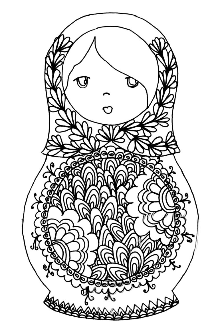 Free Printable Adult Colouring Page. Russian Dolls. Source
