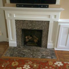 Traditional Living Room Ideas With Fireplace And Tv Shelf Lighter Mantel | Pinterest Fireplaces ...