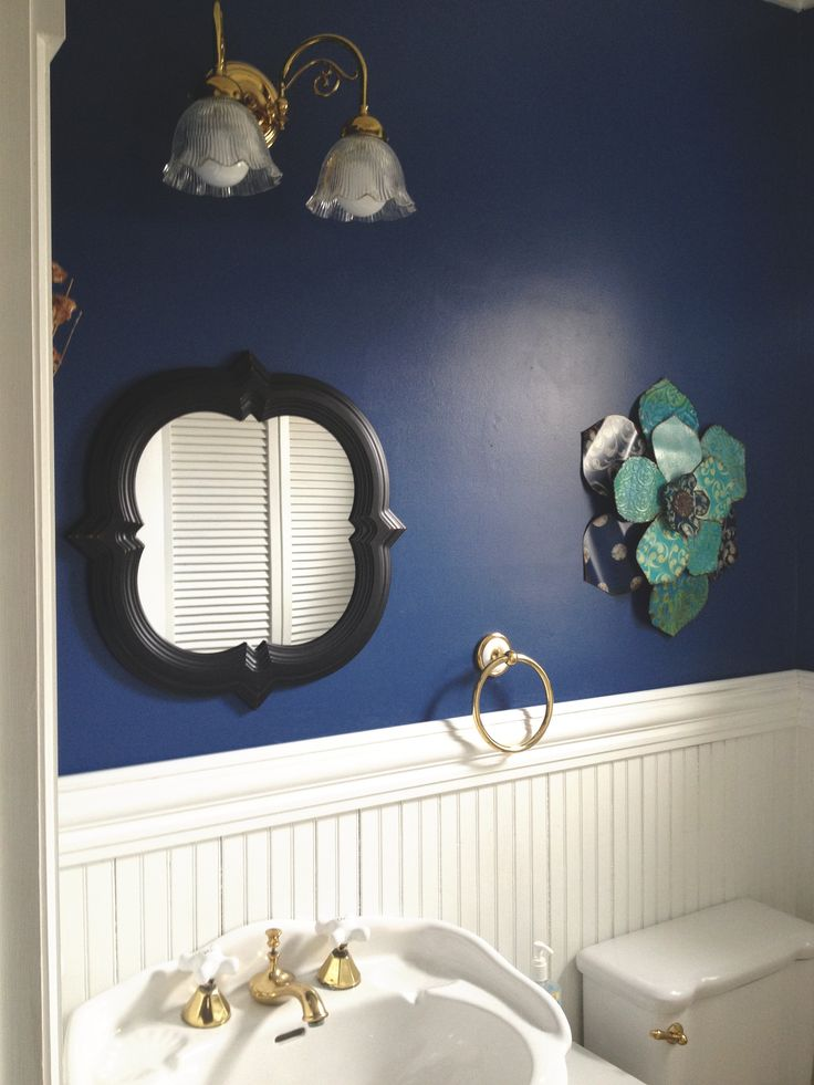 dark blue walls with white wainscoting  HOUSE Living Room