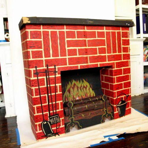 Cardboard Christmas Fireplace.Vintage Cardboard Fireplace Vintage Christmas Decor Ideas