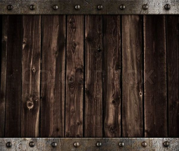 Stock image of 39Wooden background with metal border and