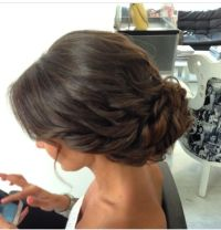 Low chignon, bridal effortless looking hairstyle, wavy ...