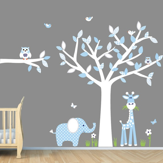 Baby Blue Nursery Wall Art, Jungle Wall Decals, Boy Wall