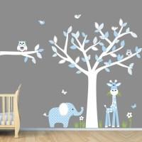 Baby Blue Nursery Wall Art, Jungle Wall Decals, Boy Wall ...