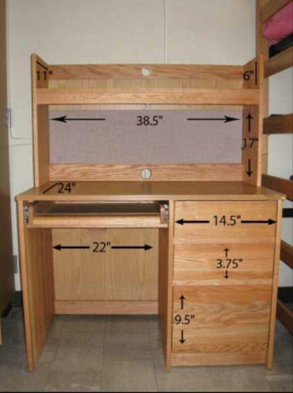 Dorm Desk Dimensions  Dorm Room  Pinterest  Dorm room