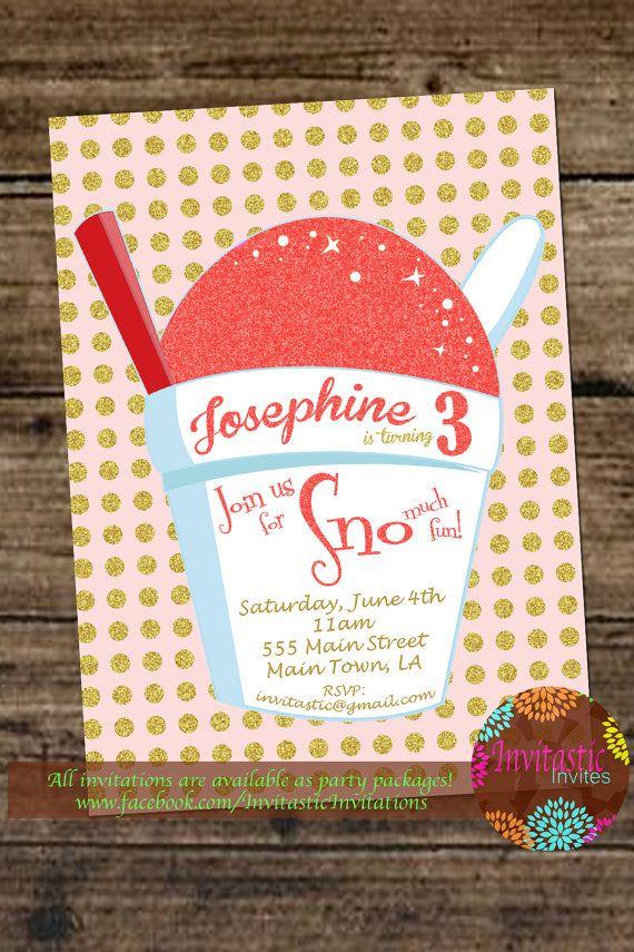 Snoball Birthday InvitationNew Orleans Snoball Snow Cone Shaved Ice Glitter Girls Invite