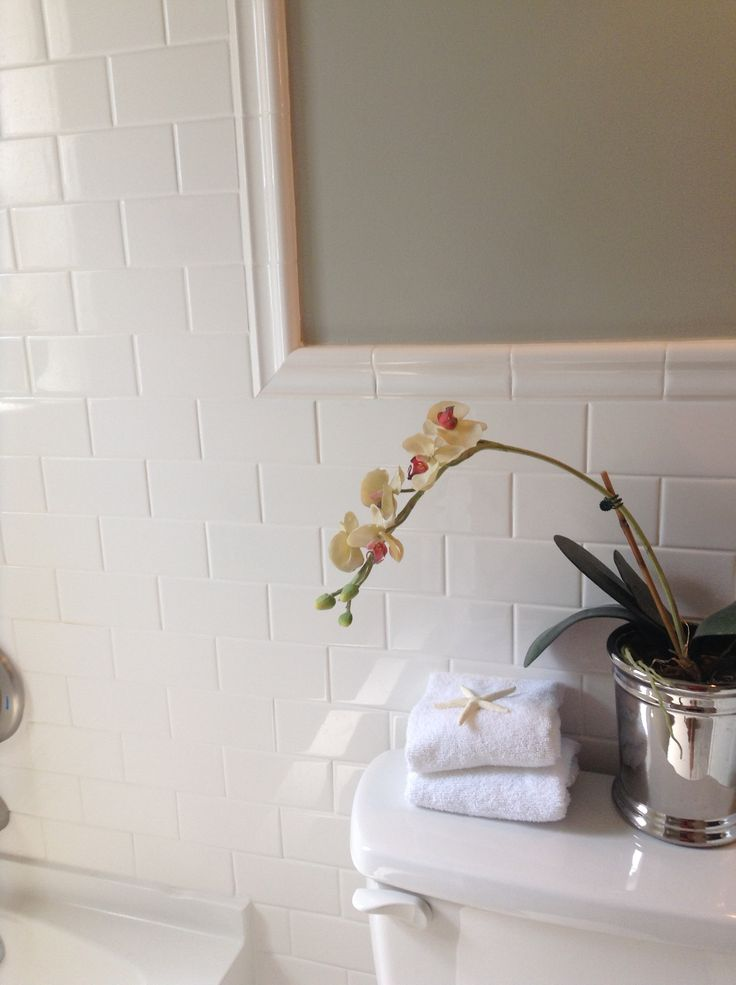 Bathroom subway tile with chair rail  Repair Renew Restore  Pinterest  Chairs The ojays and