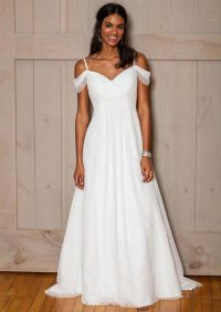David's Bridal Fall 2016 off-the-shoulder chiffon wedding ...