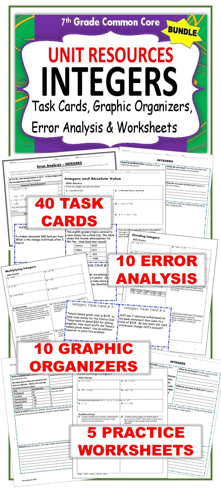 hight resolution of Exceeding the CORE: 7th Grade INTEGERS BUNDLE - Task Cards