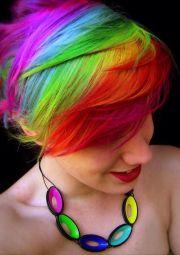 rainbow pixie cut hair