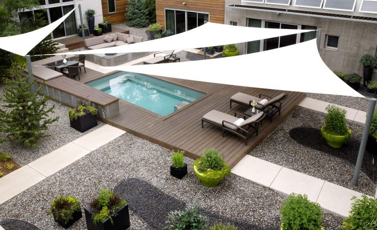 Residential Shade Sails Like the patio mix of wood stone