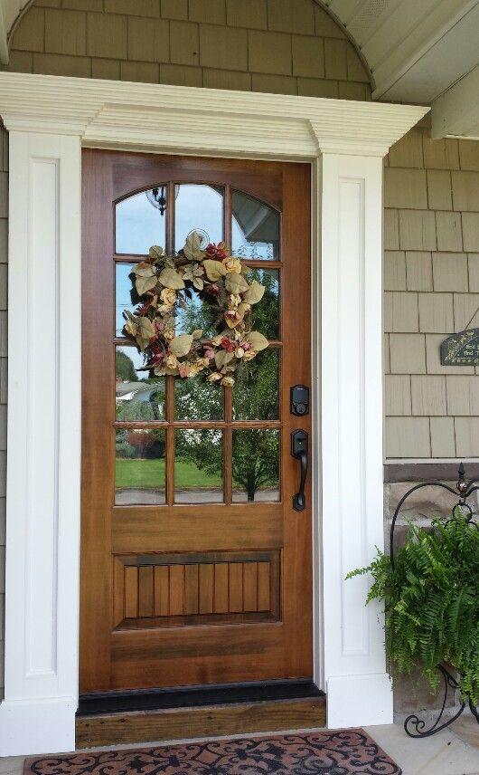 Dark walnut stain on front door.