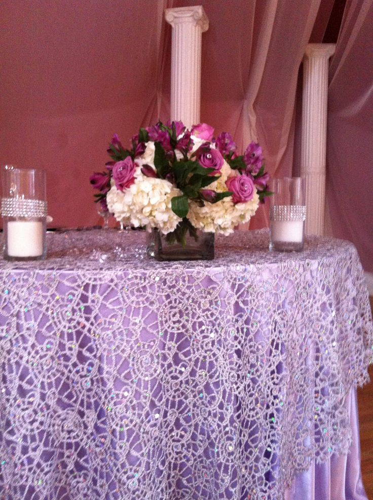 gold sequin chair covers average cost of table and rentals chemical lace silver overlay over satin lavender tablecloths . www.cvlinens.com #wedding #event ...