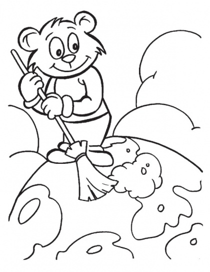 Make the Earth a clean place to live coloring page