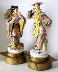 "Vintage Italian Porcelain Asian 19"" Figurine Pair Figural ..."