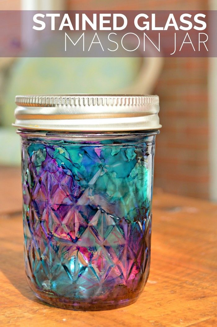 Stained Glass Mason Jar Tutorial  Jonesing for Crafts  Pinterest  Crafts Glasses and Stained