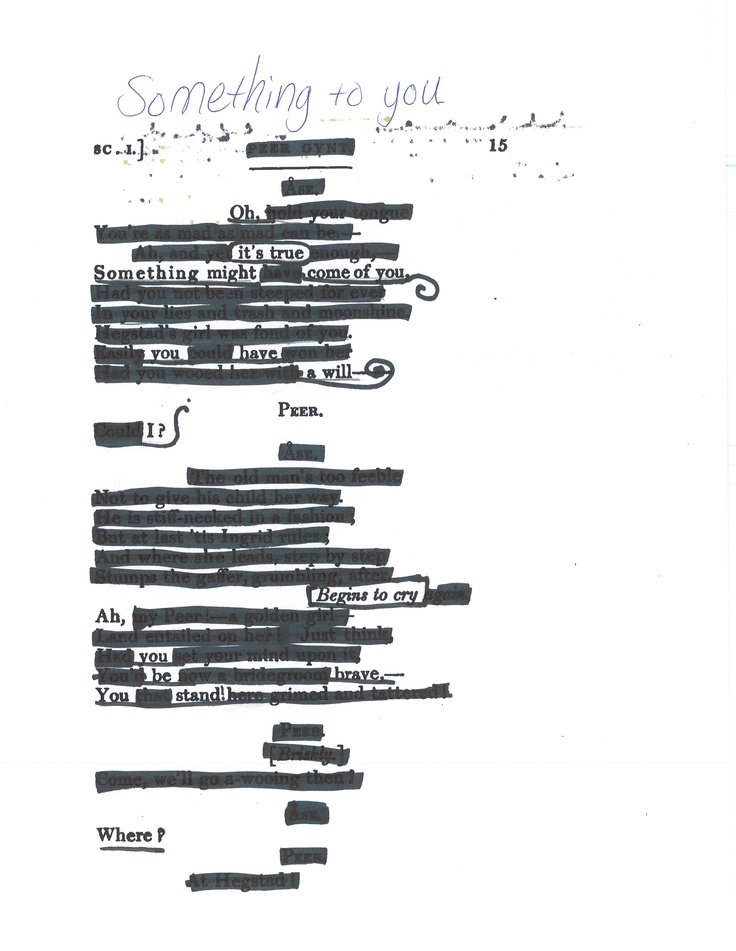 28 best images about Blackout Poetry on Pinterest
