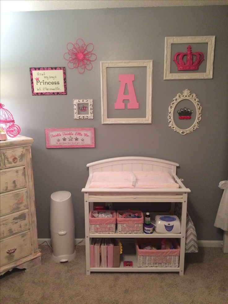 Baby girls nursery. Pink and gray. DIY wall decor
